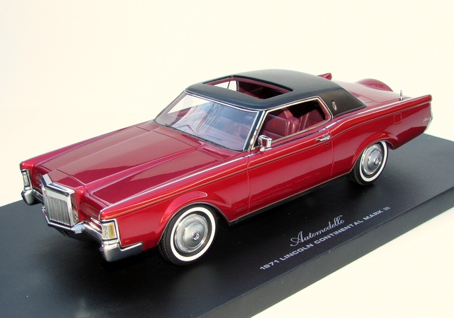 Philly Mint Models Automodello 1971 Lincoln Continental Mark Iii Red Le 499 1 24 Scale Resin